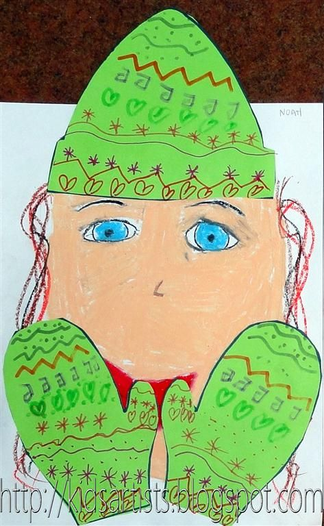 Kids Artists: Winter mittens and cap... How 2 draw faces, cut out mittens & hat, make patterns, collage