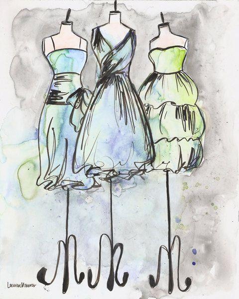 Fashion illustration watercolor dresses paintings