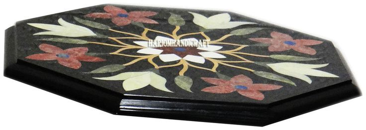 "12"" Marble Coffee Table Top Mosaic Jasper Inlaid Restaurant Eid Furniture H2997 #HariomHandicraftExport #ArtsCraftsMissionStyle #BlackTableTop #OctagonMarbleTable #TableTop #InlaidTableTop #PietraduraTableTop #FineTableTop #FurnitureTableTop"
