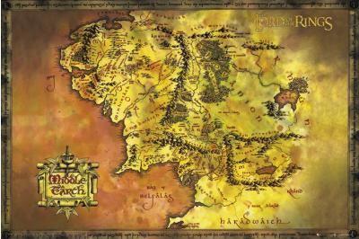 """Poster """"Middle Earth Map"""" che riporta la mappa della Terra di Mezzo, resa famosa dalla saga Il Signore Degli Anelli."""