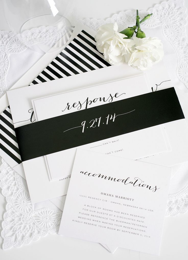Gorgeous striped wedding invitations in black and white | http://www.shineweddinginvitations.com/blog/rustic-wedding-invitations-in-black/