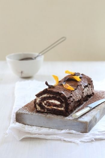 Dark Chocolate Roulade with Orange Cream and Candied Orange