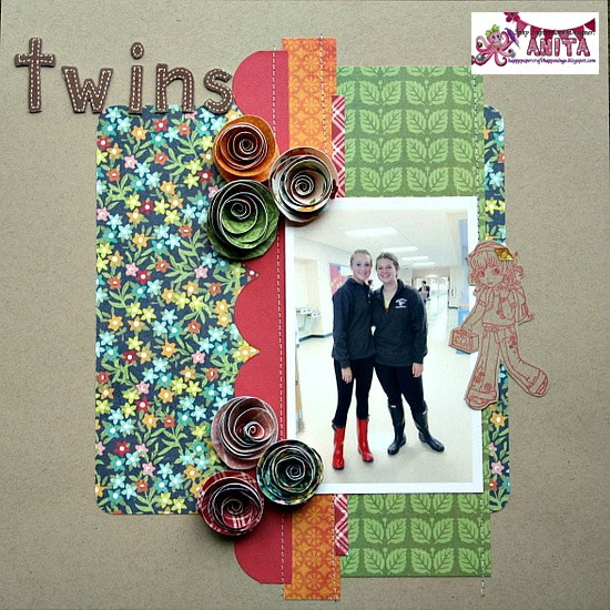 """Interesting """"twins"""" layout... like the paper flowers, stitched border strips and fall colors!Inspiration, Digital Layout, Fall Colors, Scrapbook Com Gallery, Paper Flower, Image, View Layout, Disney Scrapbook, Interesting Twin"""