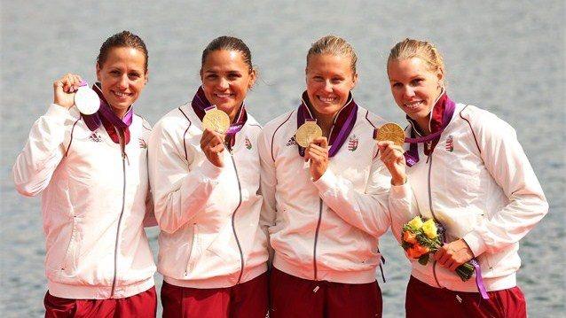 Krisztina Fazekas, Katalin Kovács, Danuta Kozák & Gabriella Szabó - Women's Kayak Four (K4) 500m | Gold Medalists. http://www.budpocketguide.com