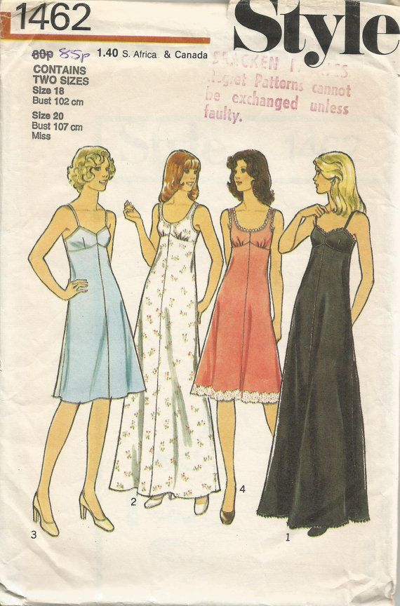 Vintage sewing pattern, 1976  for womens nighties, sizes 18/20.  Style  No.: 1462  Pattern is complete and in very good vintage condition.  This