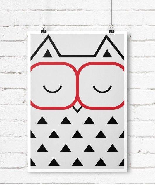 obrazy i inne - grafika-Plakat w stylu Skandynawskim, sowa w okularach