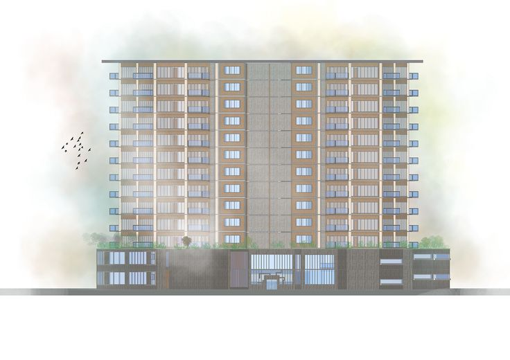 Golontor City Apartment - Backside Elevation