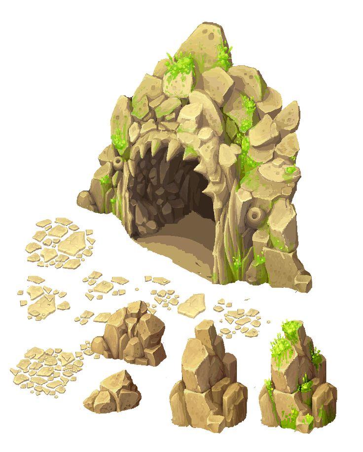 Cave entrance and stones by Ainama.deviantart.com on @deviantART