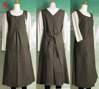 Wanoyofukutoepuronnomise Fuwari | оптимистический мировом рынке: Рю модный кусок платье фартук стиль кусок цельные дома цельный дамы день рождения подарки Японская мода матери подарок женская одежда Японии