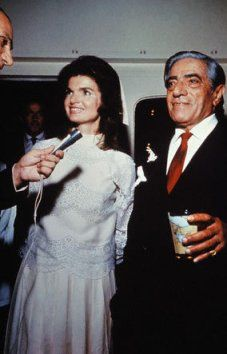 Jackie's wedding day to  Aristotle Onassis, here they are on the Christina.