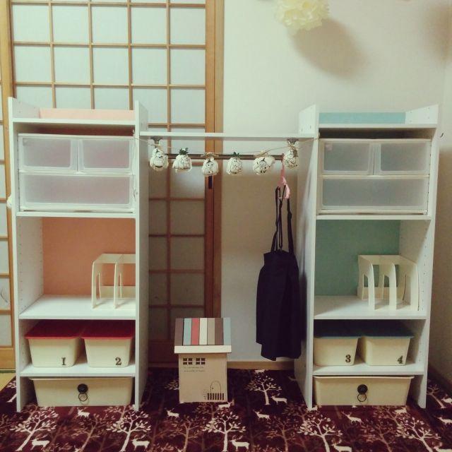 lovekazokuさんの、ランドセル,ランドセル置き場,ニトリ,カインズ,子供部屋,子供,100均,収納,DIY,棚,のお部屋写真