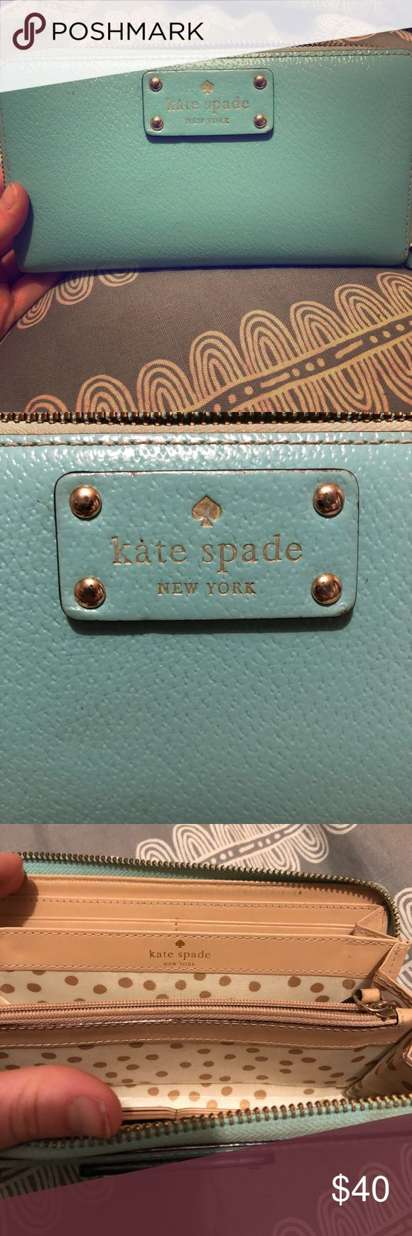 Kate spade teal purse with matching wallet! Wallet, clean. kate spade Bags Crossbody Bags