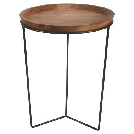 For Entryway table....Round Wood Plant Stand with Black Base - Threshold™ : Target