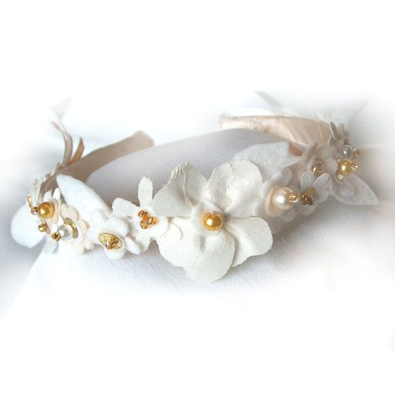 Wedding Headband Cream and White Flowers Bridal by CraftyJoDesigns