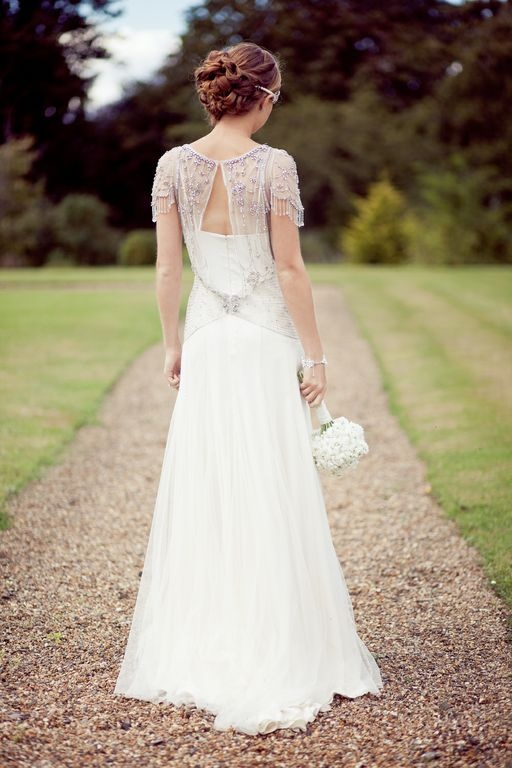 beaded bridal wrap over simple dress