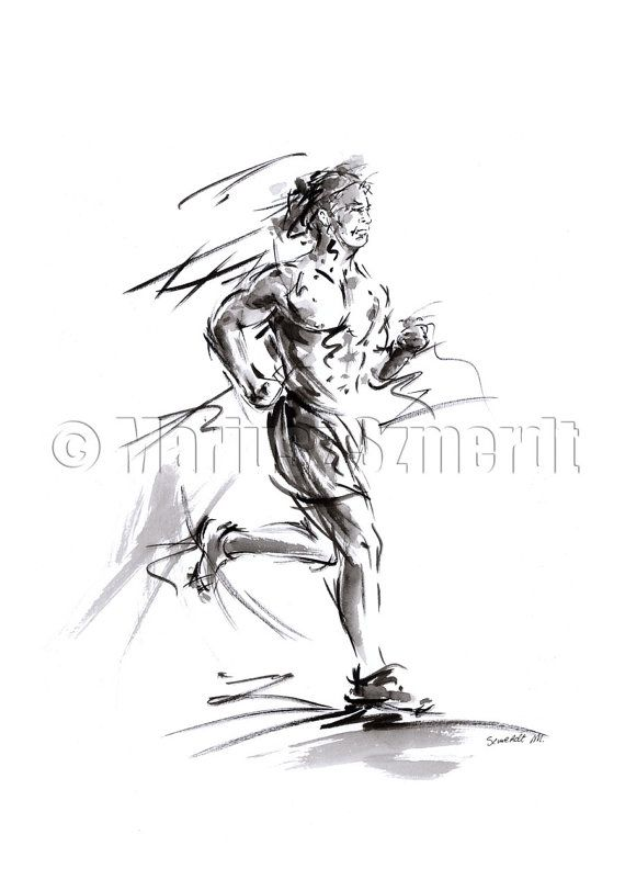 Love Run Running Man sport olimpic design project fitness picture body original ink and watercolor painting