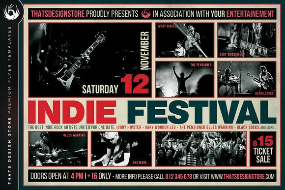 Indie Fest Flyer Template V3 by Thats Design Store on @creativemarket