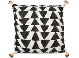 Triangles Black and White Cushion with Tassels