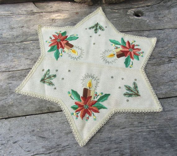 Vintage runner da tavola ricamati a mano Natale, Natale retrò, candele natalizie, tovaglia Vintage, topper tavolo, tovaglia stella, Cottage, Poinsettia