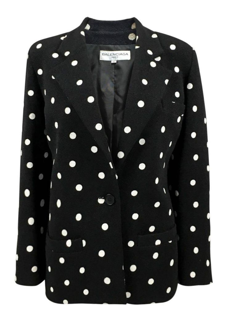 Balenciaga Black and White Polka Dot Blazer - 1980s via House of Pre-Loved - Vintage Boutique. Click on the image to see more!