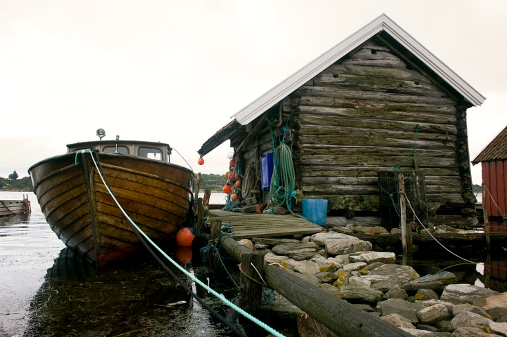Fisherman's cottage and a fishing boat.