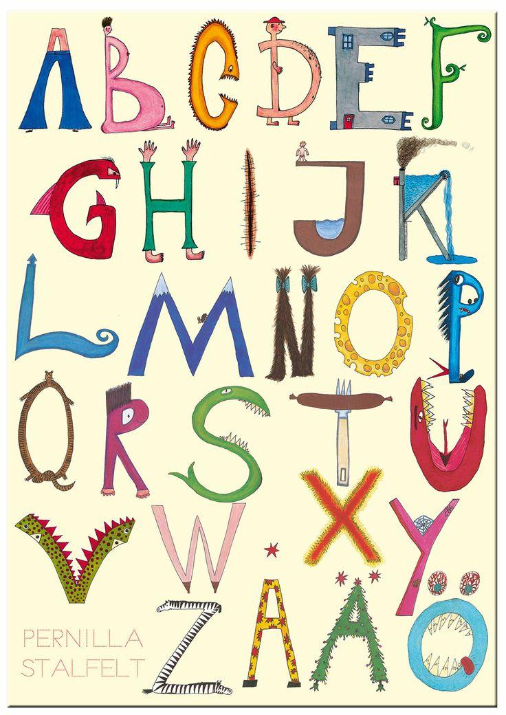 Lär dig alfabetet med Pernilla Stalfelts prilliga abcbok. Den och många fler målar och pysselböcker finns hos www.barabokstaver.se