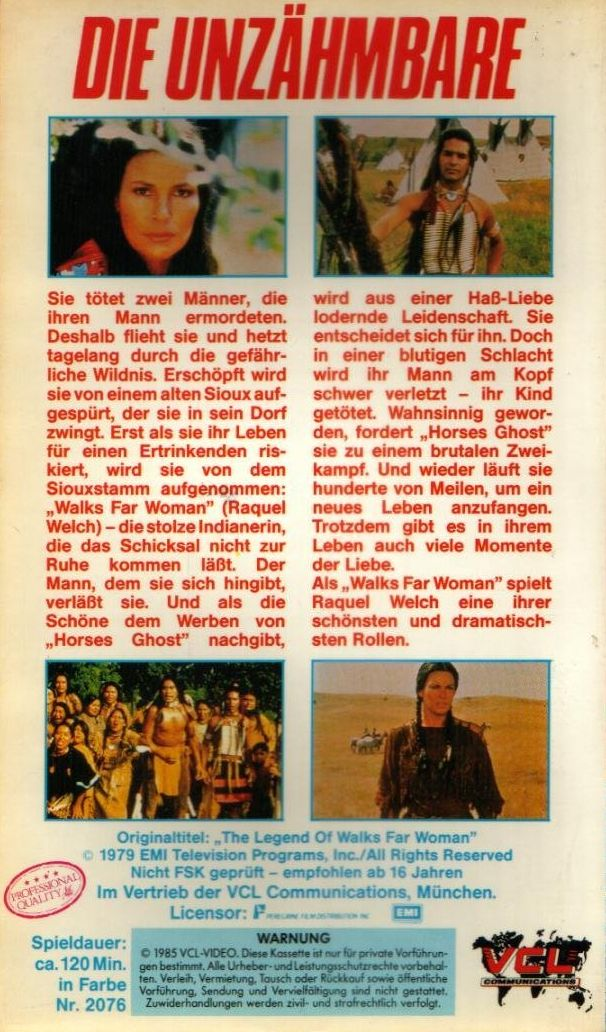 The Legend Of Walks Far Woman German VHS back cover
