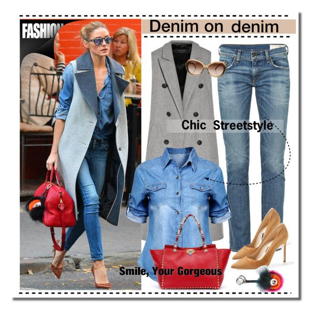 """Olivia's denim on denim look"" by anne-irene ❤ liked on Polyvore featuring rag & bone, Manolo Blahnik, Valentino, Fendi, Chanel, StreetStyle, valentino, OliviaPalermo, fendi and Denimondenim"