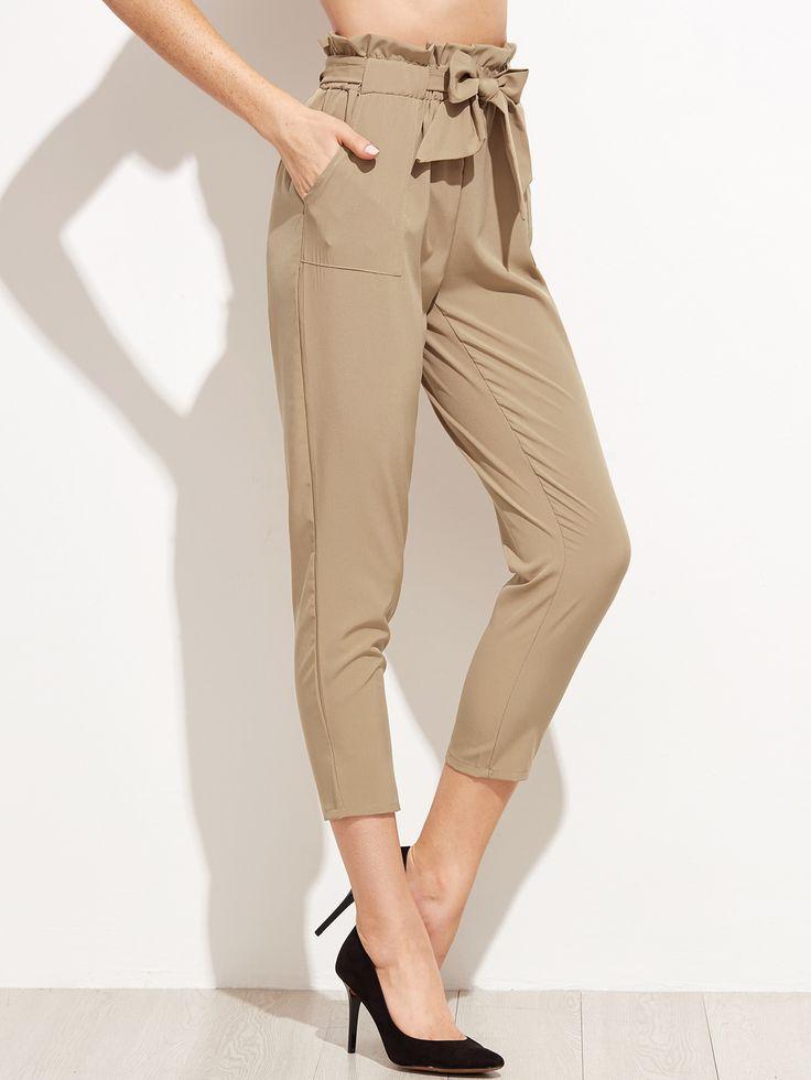 Pantalones con volantes y lazo en la cintura - kaki -Spanish SheIn(Sheinside)