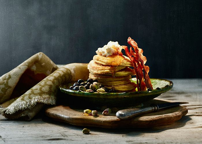 Cottage cheese and oat bran breakfast pancakes, best enjoyed with streaky bacon or macon.
