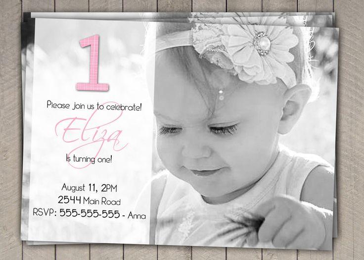 Girls 1st Birthday Invitation / Printable Download /  First Birthday Invitation Invites / Pink Black Simple Photo Invitation (11) by InvitaitonsByLittleP on Etsy https://www.etsy.com/listing/185050592/girls-1st-birthday-invitation-printable