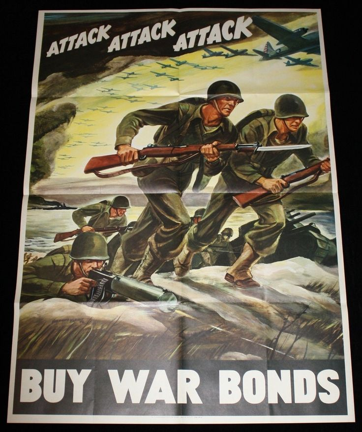 "1942 ""Attack Attack Attack"" 40"" x 28"" WWII ""Buy War Bonds"" Poster F Warren"