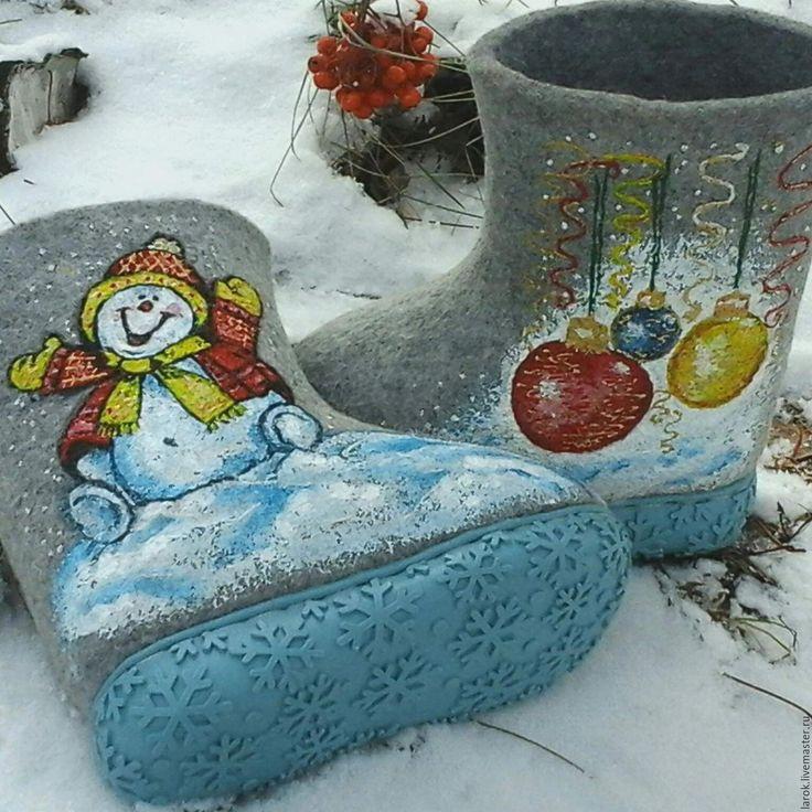 """Купить Валенки детские """"Новогодние"""" - серый, валенки, Валенки детские, валенки для улицы"""
