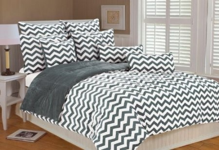 Amazon.com: Marlo Lorenz 4892 Chevron Microplush Comforter Set, Silver, Full/Queen: Home & Kitchen
