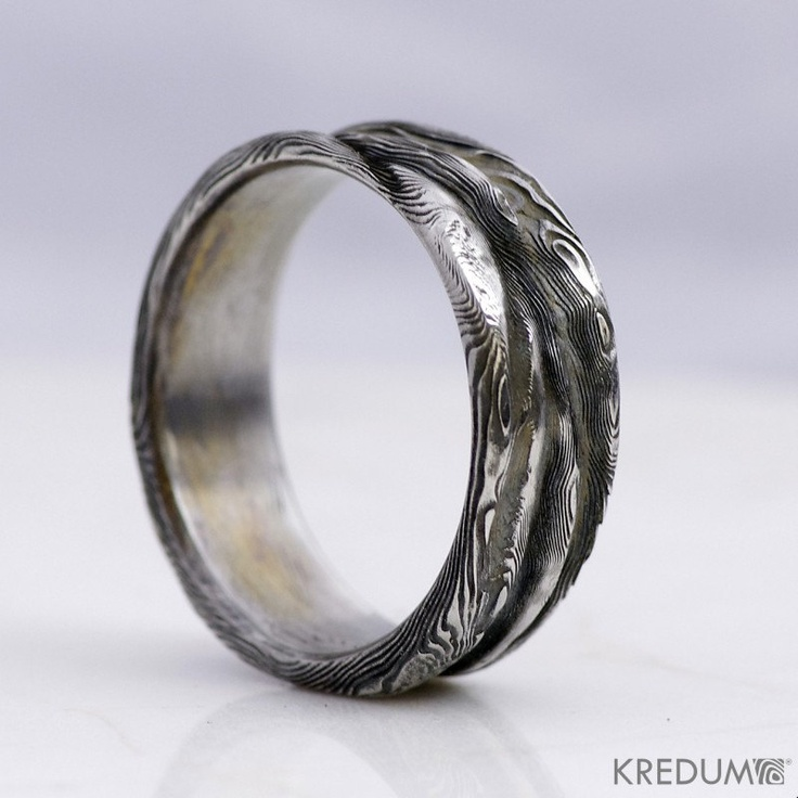Wedding Damascus Steel Ring Rustic Mens And Womens Band Simple For Her Him Unique Hand Forged Lord Of Water