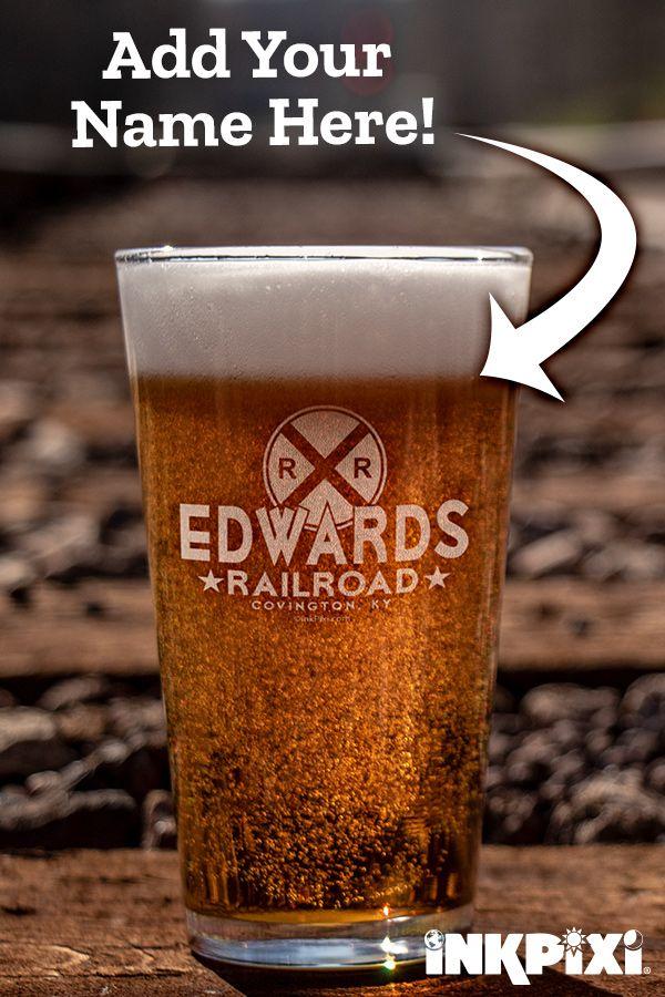 Railroad Clear Pint Glass Engraved Single Pint Glass Custom