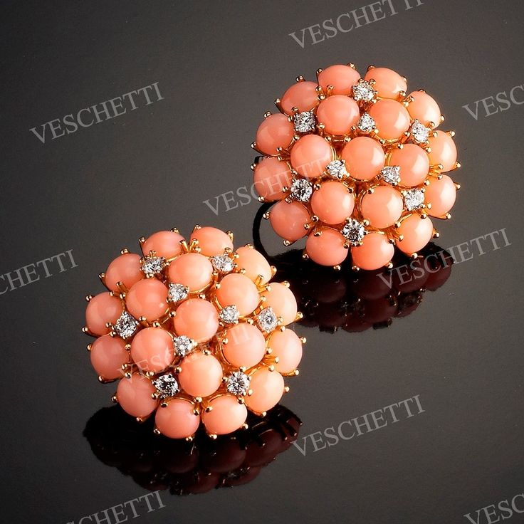 Earrings set with coral and brilliant-cut diamonds