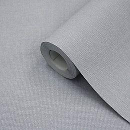 Jute Grey Texture Wallpaper | Departments | DIY at B&Q