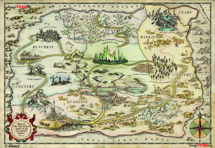 This beautiful map of Oz. | 19 Maps That Will Change How You See Your Favourite Fictional Worlds