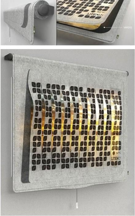 Eco Leaf 's fabric using solar cells, can block sunlight while charging during the day. In the evenings, small leaves of curtains will glow, give the room a warm lighting. It's lower right corner can also display the current room temperature.
