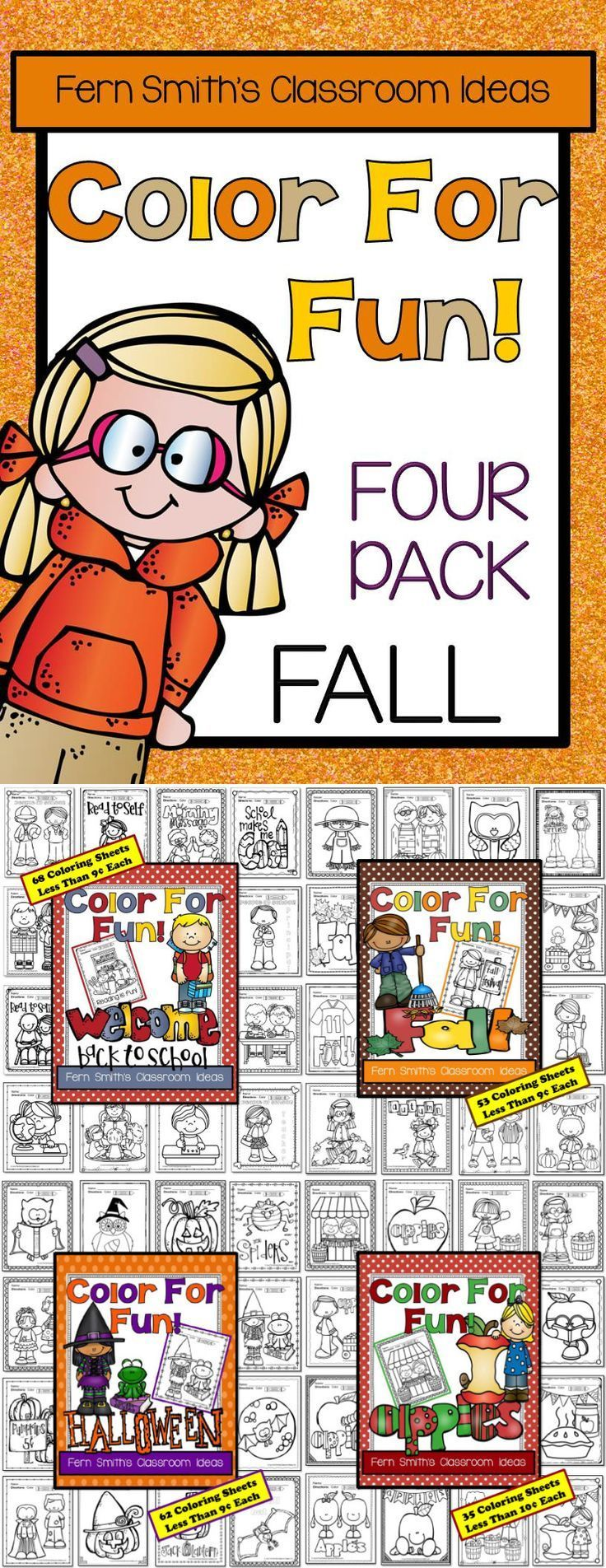 Color For Fun Fall Four Pack of Printable Coloring Pages {220 coloring pages equals less than 9 cents a page.} #FREE Fall Color for Fun Coloring Sheet Printable in the Preview File, download it and try before you buy! #TPT $Paid