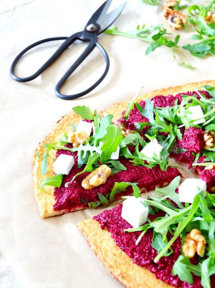 Vegetarische Pizza der roten Rübe mit Blumenkohl-Kruste   – Comida