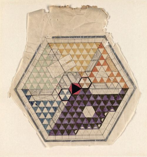 rudygodinez:  Buckminster Fuller, Dymaxion House Drawing/Plan, (1927)  In Fuller's roughly clipped drawing, he has colored the walls in metallic ink to represent the aluminum skin. The triangular grid indicates the high-tension wires supporting the elevated structure. The central black triangle is the lift within the red hexagon of the central mast. Furniture is shown in situ within the five rooms, which are color coded: purple for the living room, turquois and yellow for the bedrooms, blue…