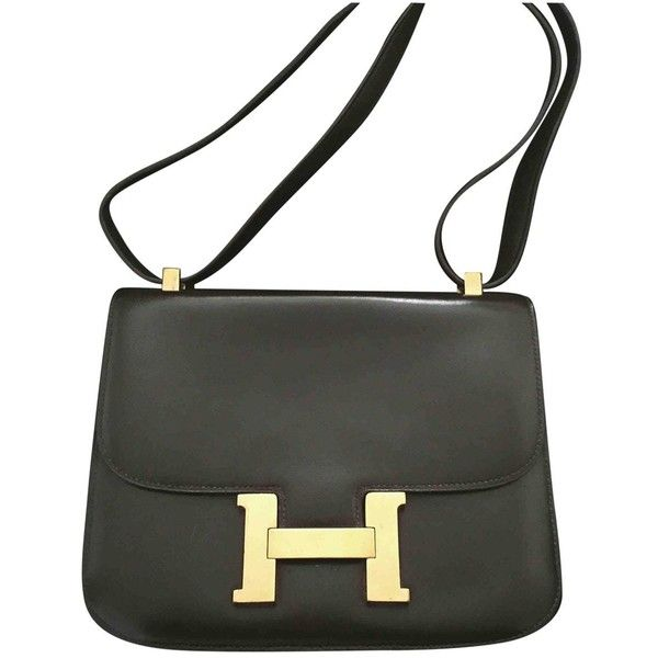 Pre-owned Hermès Constance Leather Crossbody Bag ($5,323) ❤ liked on Polyvore featuring bags, handbags, shoulder bags, brown, women bags handbags, hand bags, brown leather purse, leather crossbody, leather man bags and brown crossbody purse