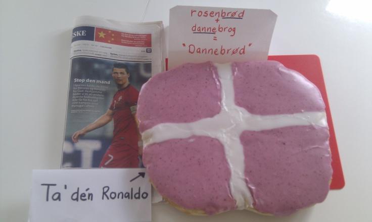 """How to stop Ronaldo?  I retorikkens verden bruger vi ofte vendingen """"Show not tell. Vi appellerer også til at bruge sproget kreativ og lade det blomstre. Andre gange argumenterer vi for, at billeder kan sige mere end tusind ord.  Bag et stort rosenbrød, klon det med dannebrog, og du har et Dannebrød!"""