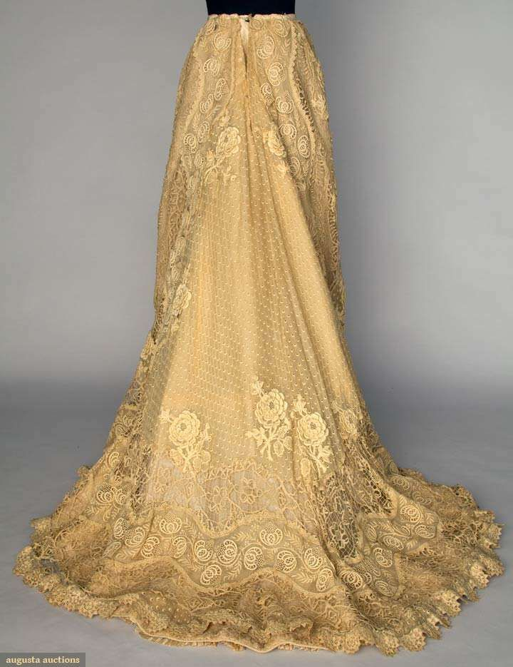 Doucet Lace Skirt, Embroidered Lawn And Chemical Lace In Ribbon And Snowflake Patterns c.1900-1905