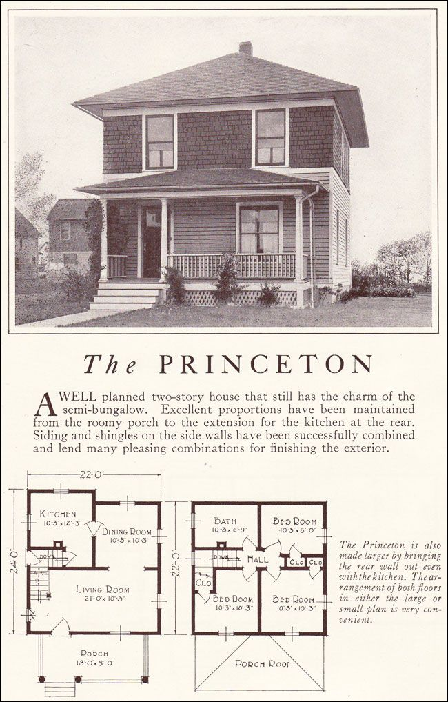 1922 lewis mfg princeton american foursquare for American home floor plans