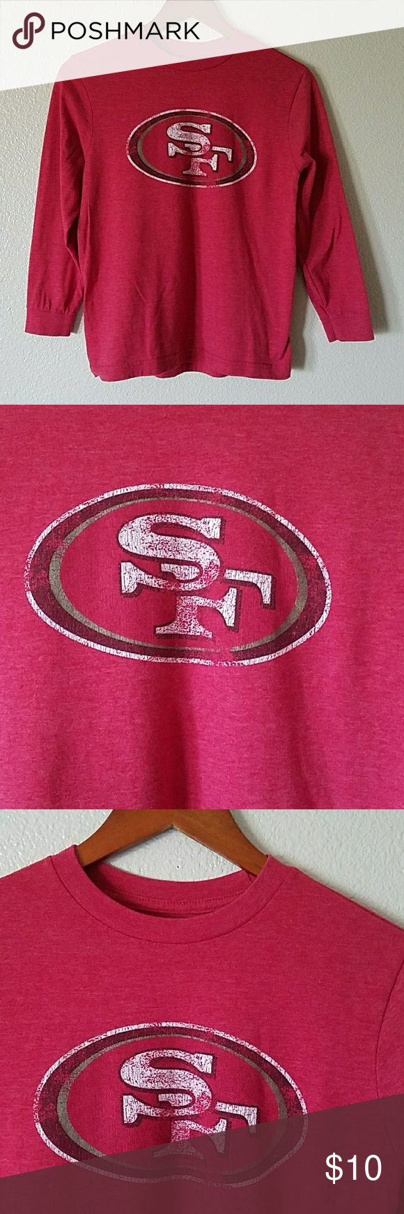 NFL Ssn Francisco 49ers long sleeves t-shirt sz 8 NFL San Francisco 49ers long sleeves t-shirt// excellent used condition// with SF vintage look logo in front// 50% Cotton and 50% Polyester NFL Shirts & Tops Tees - Long Sleeve