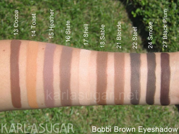 Bobbi Brown, eyeshadow, swatches, Cocoa, Toast, Heather, Slate, Shell, Sable, Blonde, Steel, Smoke, Black Plum, KarlaSugar, Karla Sugar