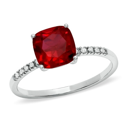 Cushion-Cut Lab-Created Ruby Ring in 10K White Gold with Diamond Accents - Zales - Pretty birthstone ring for my right hand